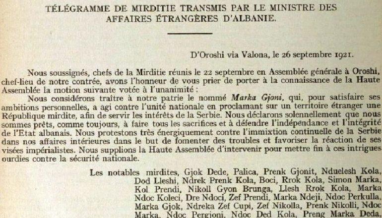 Dokumenti diplomatik: Mocioni i mirditorëve kundër Marka Gjonit dhe Republikës