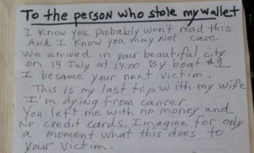 """I sëmuri me kancer i shkruan hajdutit të çantës së tij prej turisti: """"Ishte udhëtimi im i fundit me gruan"""""""