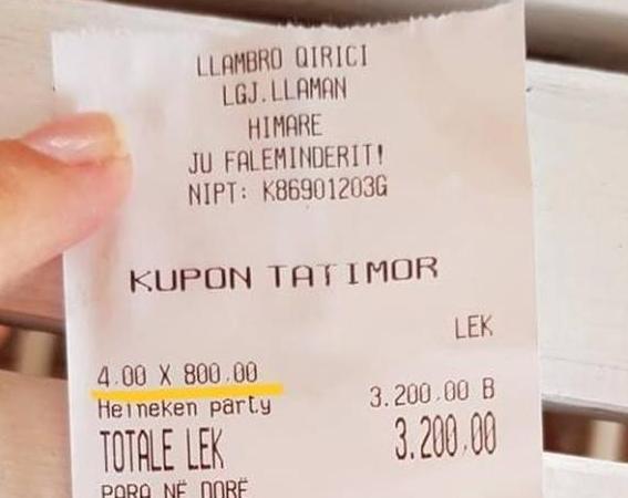 """""""PËRSHËNDETJE NGA LLAMANI""""/ Një birrë kushton…8 mijë lekë! (FOTO)"""