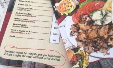 E PAZAKONTË NË KSAMIL/ Shkruhet në menu: Çmimet mund të ndryshojnë pa lajmëruar! (FOTO)