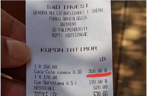 """""""ÇMENDURI"""" NË SARANDË/ 350 lekë një Coca Cola, 170 lekë një ujë"""