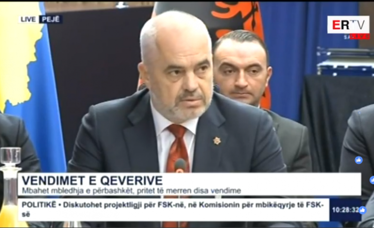 MBLEDHJA E DY QEVERIVE NË PEJË/ Rama: Kosova nuk mund të konsiderohet një gjysëm shtet. Të zhgënjyer nga BE