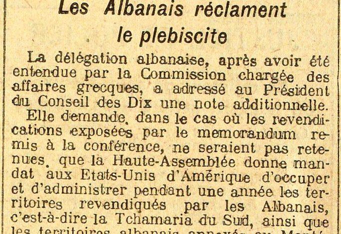 PARISI-MIDI 1919/ Plebishiti: SHBA të marrë Shqipërinë për 1 vit