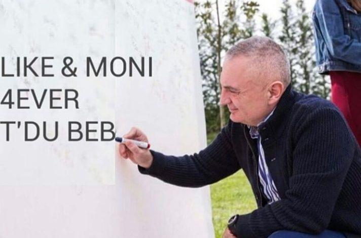 ROMANTIK/ Kur Ilir Meta i bën dedikim në mur, Monika Kryemadhit!