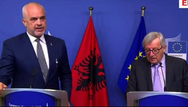 """NË BRUKSEL/ Rama: """"JO"""" lojëra me negociatat! Junker: Shqipëria e meriton plotësisht"""