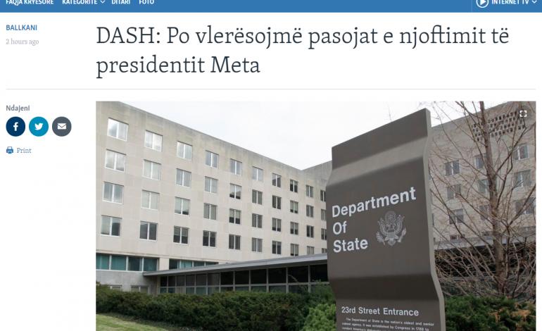 """Departamenti Amerikan i Shtetit: Vendimi i Presidentit Meta?! Eshtë """"njoftim"""", jo """"vendim!"""