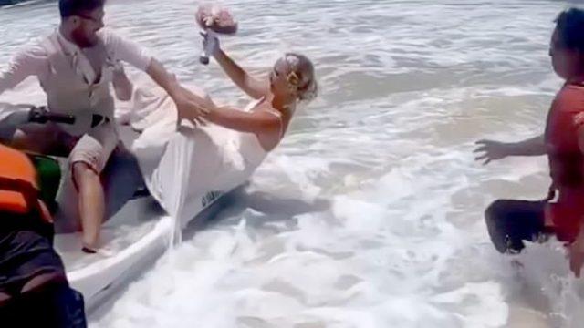 VIDEO QESHARAKE/ Po realizonte fotot e dasmës, nusja bie në ujë