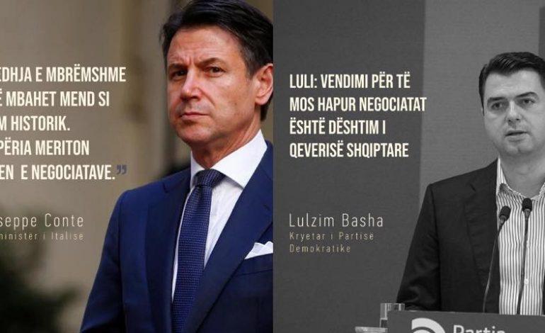 """""""PA KOMENT""""/ Kryeministri italian: Moshapja e negociatave, gabim historik i BE-së. Lulzim Basha: Dështim i qeverisë…"""