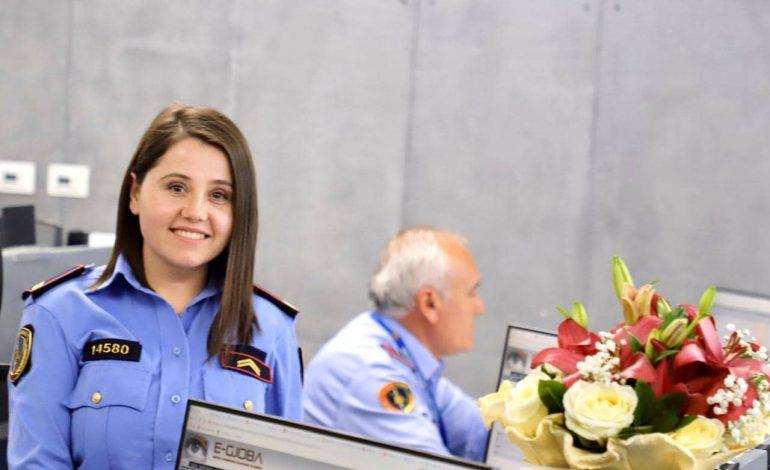 NË KOHËT E KORONAVIRUSIT/ Policia një URIM për ditëlindje Elisabetës së sallës operative