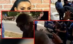 ME FUSTAN ME LULE DHE FLOKË GËRSHET/ Momenti kur Fjolla Morina mbërrin në Gjykatë. Biznesmeni dhe shoferi futen...